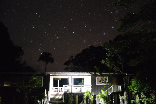 Stars framing the Imbu Rano lodge at Kolombangara.