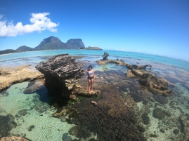 Low tide on the Lord Howe Island lagoon. Lord Howe Island boasts the world's southern most coral reef, created by the bending of warm water from the East Australian current outwards into the Tasman Sea. Due to its southerly location & cooler water temperatures, Lord Howe Island has withstood severe coral bleaching events that have afflicted northern reefs such as the Great Barrier Reef. However, nowhere is immune to the effects of a changing climate & action needs to be taken to protect reef systems like this one, before it's too late.